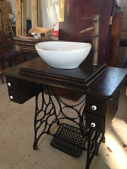 Single Vanity Antique Treadle Sewing Machine Table