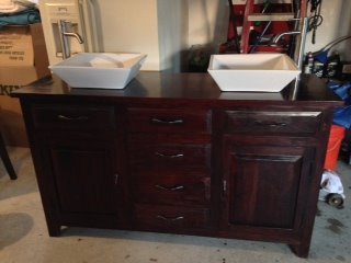 Double Vanity with White Sinks and Brushed Silver Faucets