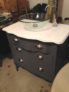Side View Gray White Single Bathroom Vanity 3