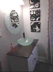Single Bathroom Vanity with Glass Sink
