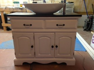 Single Oval Sink Vanity Front View
