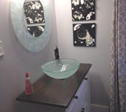 Single Bathroom Vanity with Glass Sink